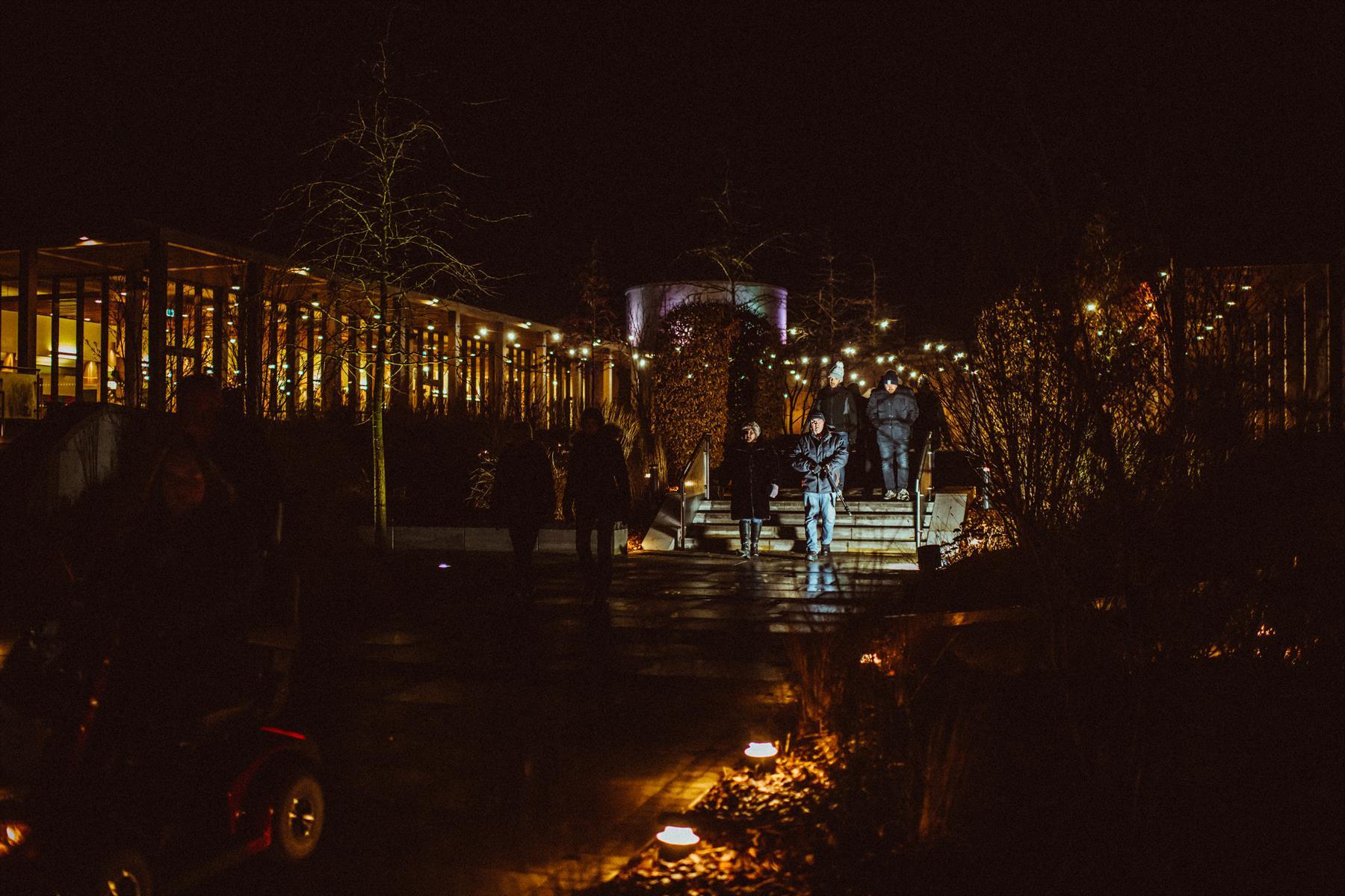 Visitors leave the Remembrance Centre prior to Illuminated Arboretum