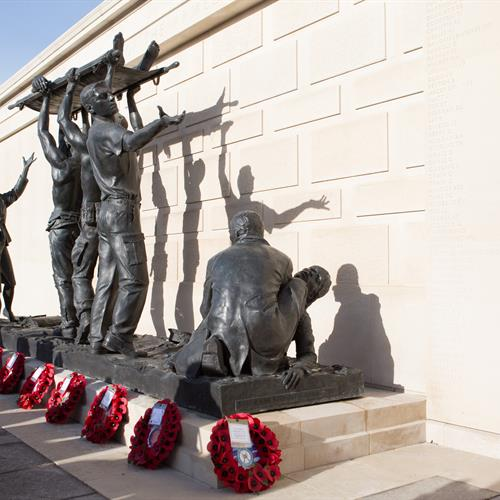 Wreaths on top of the Armed Forces Memorial