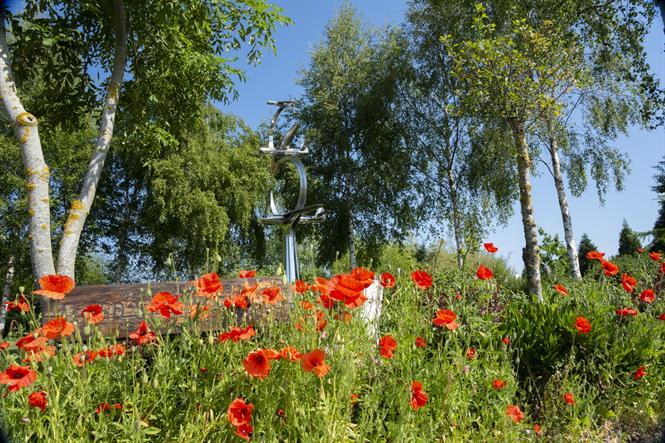Poppies in front of Pegasus Bridge Memorial