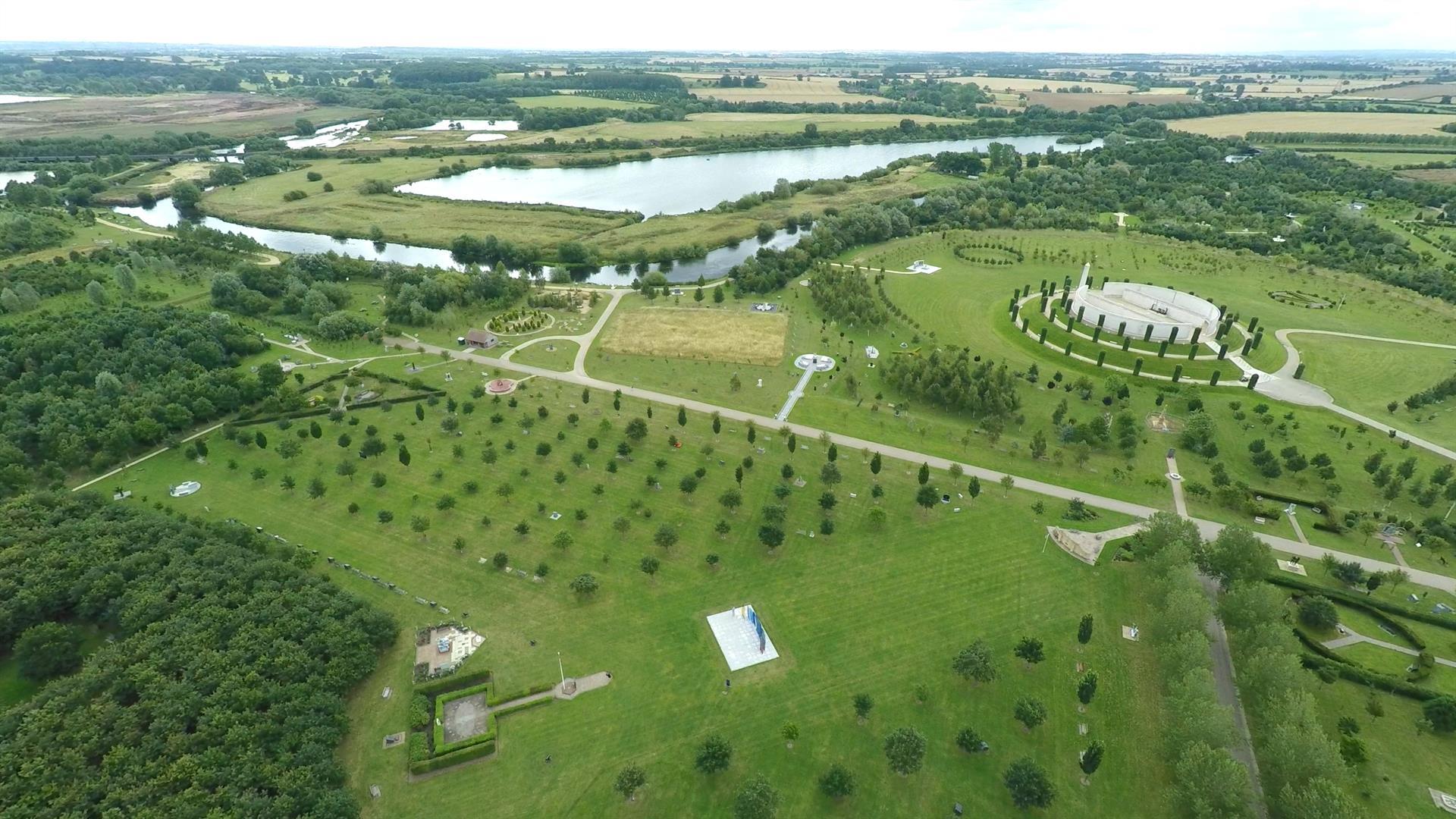 Aerial shot of the RAF Wing, National Memorial Arboretum