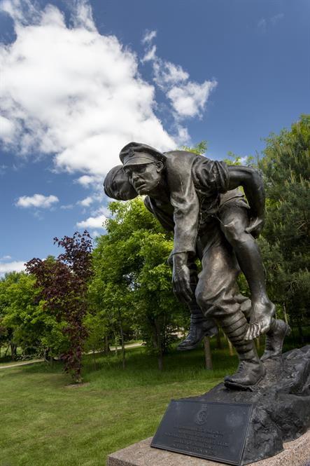 Royal Army Medical Corps Memorial. Soldier carrying invalid.