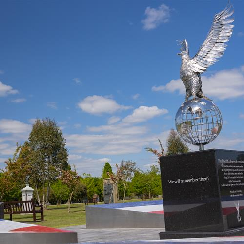 RAF Remembrance Garden. Steel Eagle atop a Globe